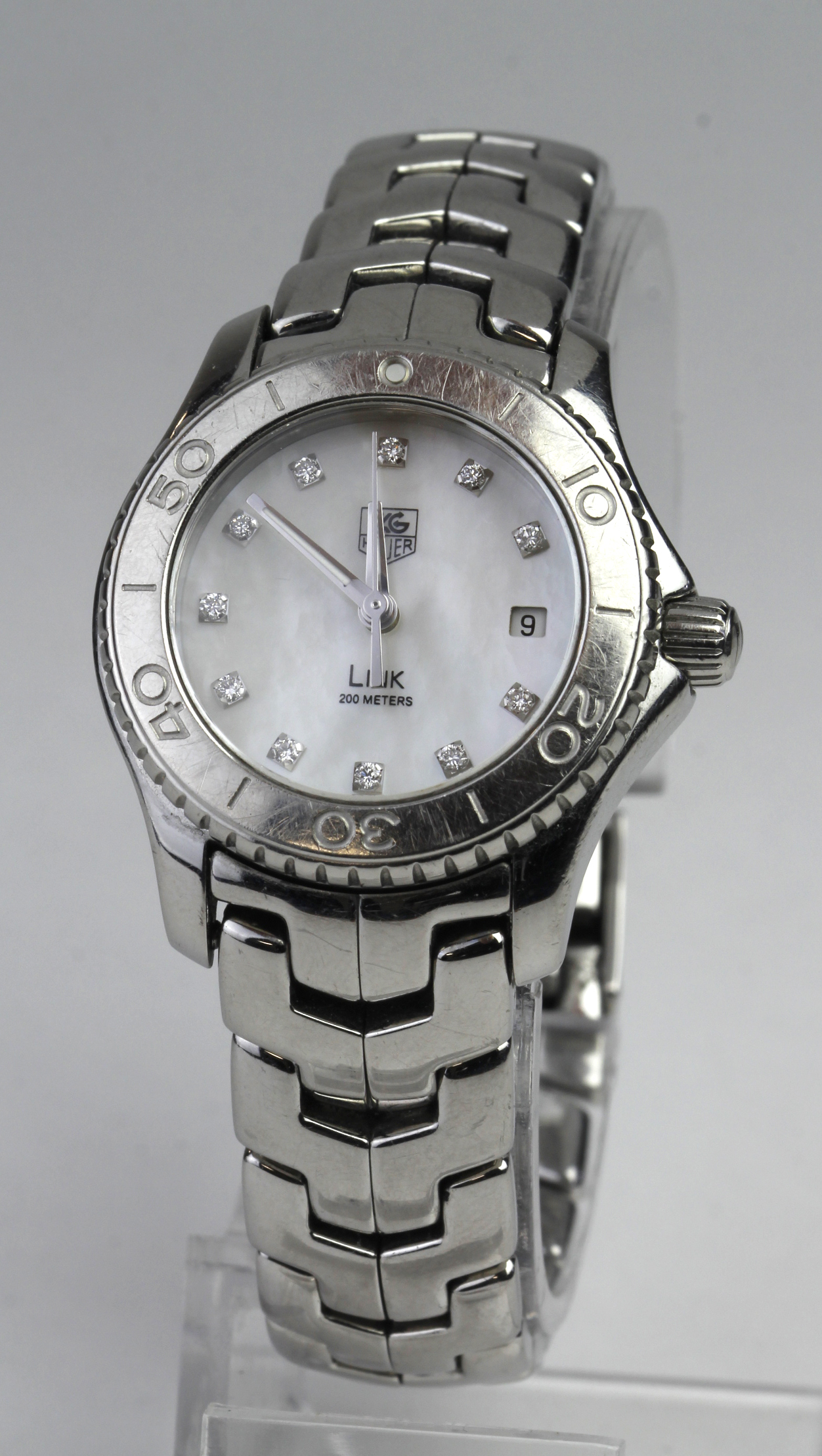 Ladies stainless steel Tag Heuer link bracelet watch, having signed mother of pearl dial with - Image 2 of 2