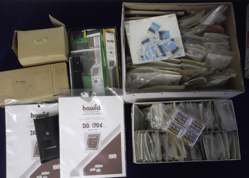 Lot 24 - Stamps & accessories, large quantity of GB commends in packets, a box of GB definitives, used off
