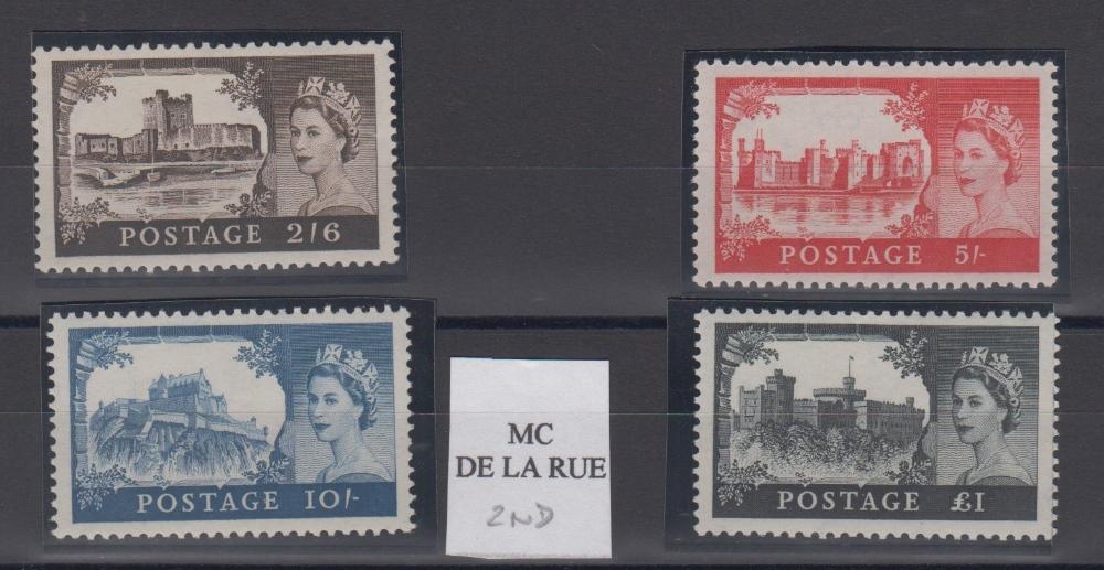 Lot 35 - Stamps, GB, 1955-1958 Castles, 2nd De La Rue, SG595/8, unmounted mint, catalogue value £195