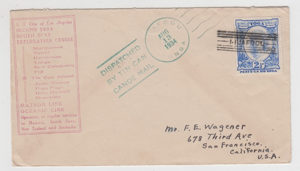 Lot 31 - Postal History, Tonga, early Tin Can Mail envelope, postmarked 13 Aug 1934 with additional rubber