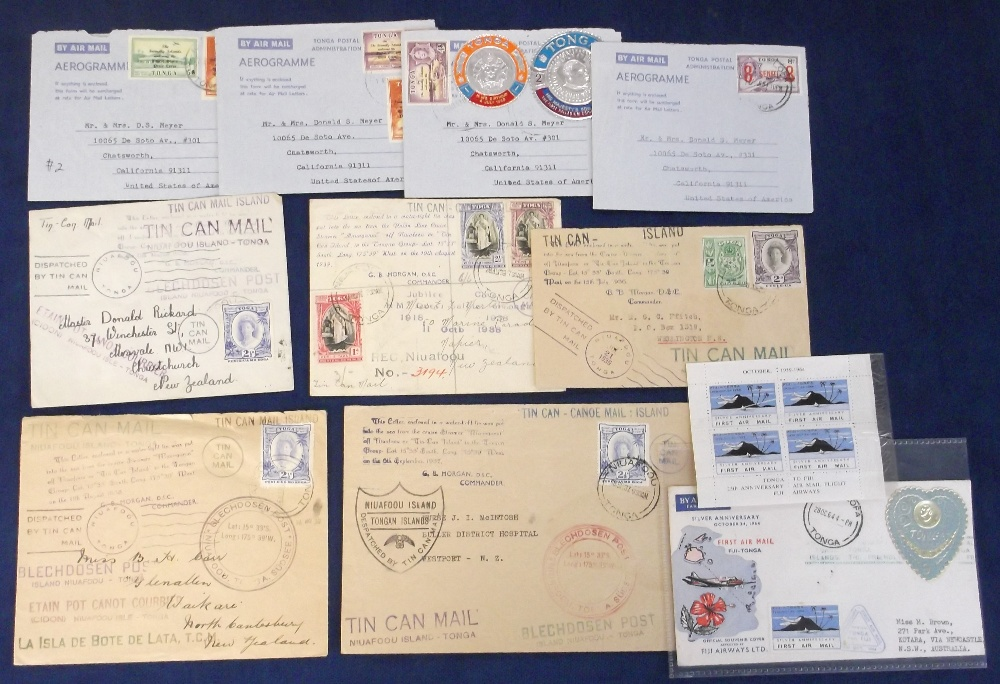 Lot 30 - Stamps / Postal History, Tonga, 5 Tin Can envelopes, 1930's, each with stamps & various cachets