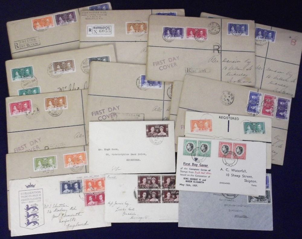 Lot 23 - Postal covers, collection of 1937 Coronation stamps on envelopes (mostly registered mail) , inc.