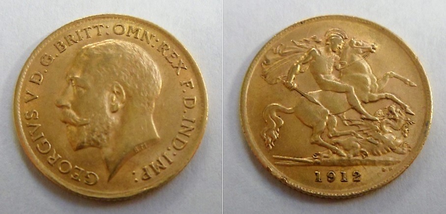 Lot 2 - Coin, GB, George V half sovereign 1912 fine, slight edge knock (1)