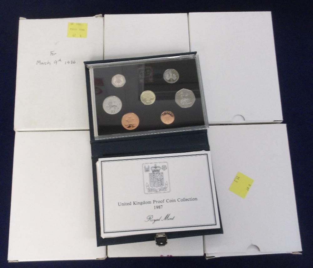 Lot 12 - Coins, Royal Mint Proof Coin Sets, 6 sets 1986 x 2, 1987 x 2, 1988 x 2 (vg) (6)