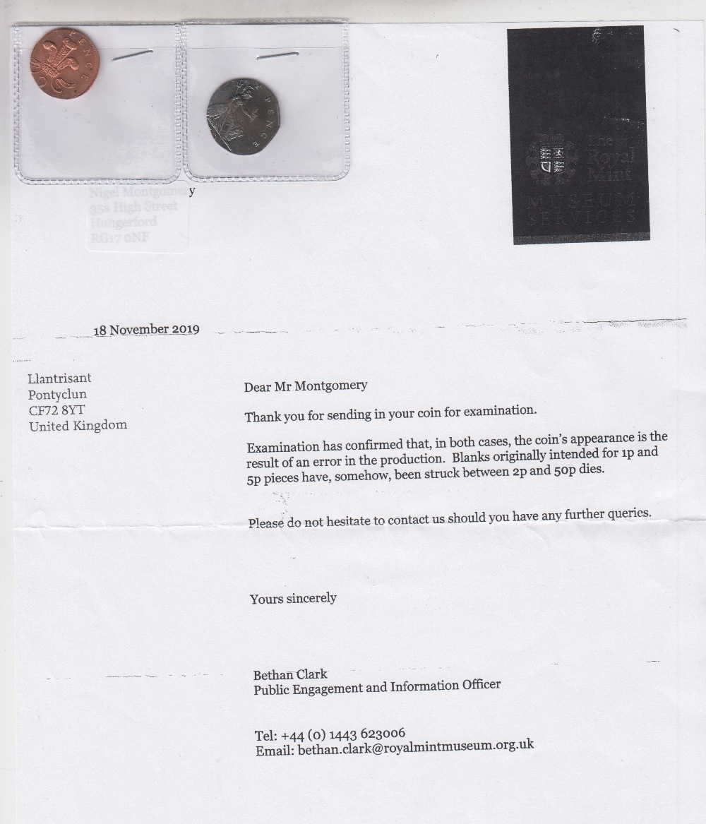 Lot 17 - Coins ,GB, two error coins, a 50p piece and 2p piece, both struck on wrong size plates with