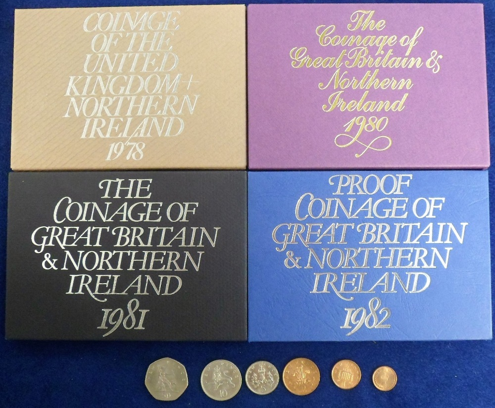 Lot 10 - Coins, Royal Mint Proof Coin Sets, 4 sets 1978 x 1, 1980 x 1, 1981 x 1 and 1982 x 1 together with