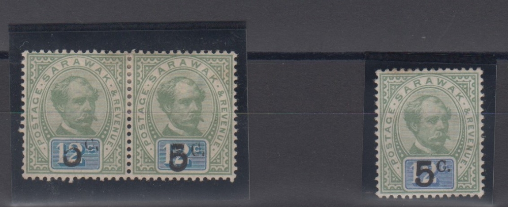 Lot 36 - Stamps, Sarawak, pair of 12c stamps overprinted 5c with surcharge partially omitted, mint, sold with