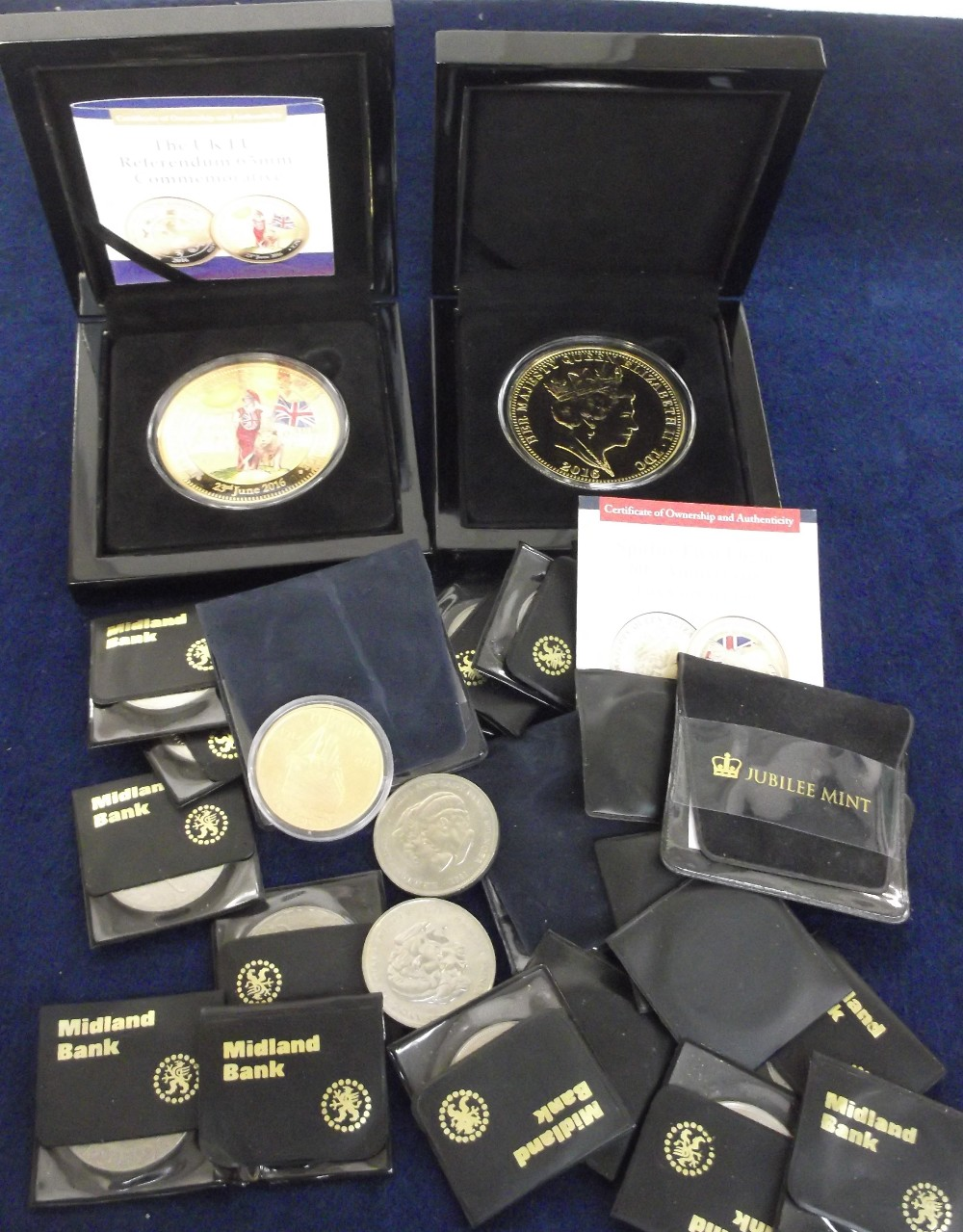Lot 19 - Coins, two, limited edition, gold plated Bradford Exchange boxed commemorative coins, Spitfire First