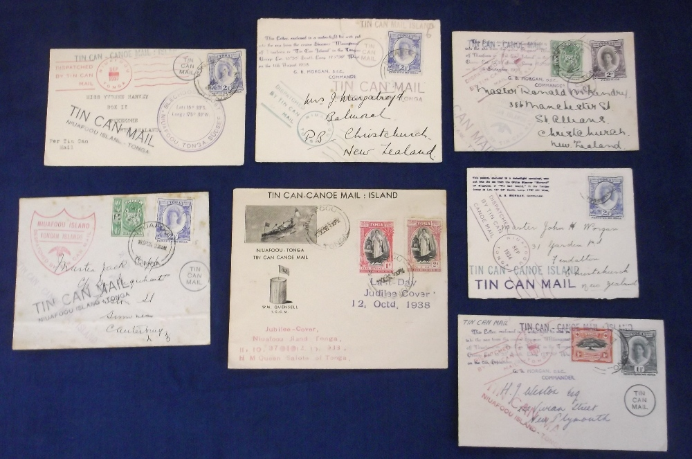 Lot 32 - Postal History, Tonga, a collection of 7 Tin Can Mail covers, 1930's, all sent from Niuafoo Island