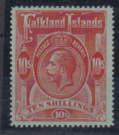 Lot 37 - Stamp, Falkland Islands, King George V 10/- red, mint (never hinged) catalogue value £190