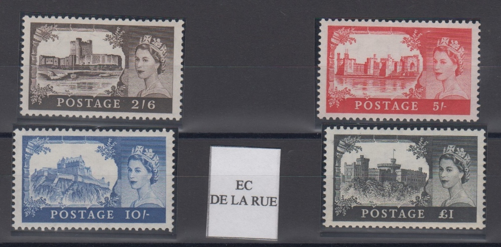 Lot 34 - Stamps, GB, 1955-1958 Castles De La Rue, SG536-539, unmounted mint, catalogue value £670