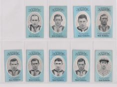 Cigarette cards, Cope's, Noted Footballers (Clips, 500 subjects), West Bromwich, 9 cards, nos 292-