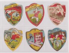 Trade cards, Baines, Football, 9 shield shaped cards, Newcastle United, Scotland, Liverpool,