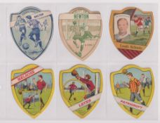 Trade cards, Baines, Football, 10 shield shaped cards, Bolton, Newton, Leeds Schools, Melrose,