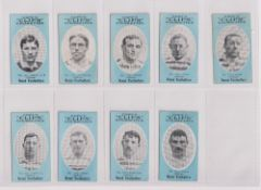 Cigarette cards, Cope's, Noted Footballers (Clips, 500 subjects), 17 cards, Oldham (9), nos 157-