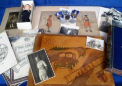 Militaria, a quantity of military items to include a hand made marquetry photograph album '321