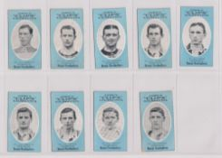 Cigarette cards, Cope's, Noted Footballers (Clips, 500 subjects), Southampton, 9 cards, nos 409-