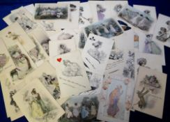 Postcards, Glamour, pastel style, inc. card suites (2), romance, dressing, Regency, hats etc., (gd/