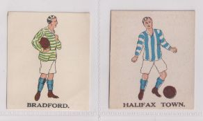 Trade cards, Battock's, Football Cards, two type cards, Bradford & Halifax Town (vg) (2)