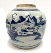 A Chinese provincial blue and white underglaze ovoid ginger jar, decorated with a lake landscape,