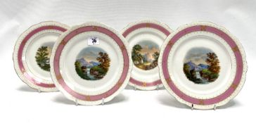 A set of four 19th century landscape painted plates with pink ground and lobed rims with gilt