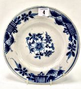 An 18th Century English blue and white Delft plate, foliate decorated, diameter 22.5cm.