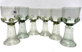 A set of six German green glass roemers, each applied to the bowl with five prunts, signed to the
