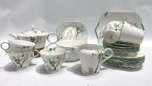 A Shelley part tea set, pattern No. 212880, comprising tea pot (AF), six tea cups, six saucers,