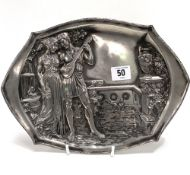 A continental Art Nouveau pewter tray cast in relief with two classical lovers in a garden