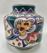 A Carter Stabler Adams, Poole Pottery squat cylindrical vase, pattern No. 960/V, height 16cm.