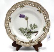 A Royal Copenhagen porcelain botanical decorated dish 'Anemone Pulsatilla L.' no. 20 3554,