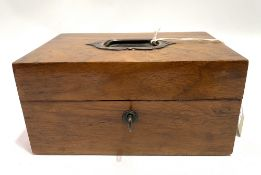 A Victorian walnut jewellery box with recessed handle to the lid, enclosing a fitted interior, width