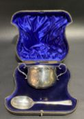 Victorian cased silver twin handled bowl and spoon Christening set, maker William Hutton & Sons Ltd,
