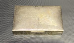 Modern silver cigarette box by Mappin & Webb, with engraved dedication to the lid, Birmingham