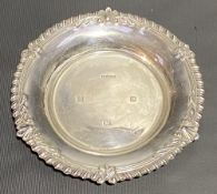 Modern silver circular card tray with gadrrooned and foliate embossed rim, maker AM & Co, Birmingham