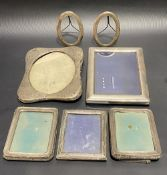 Seven various silver hallmarked mounted picture frames (all af).