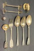 Miscellaneous hallmarked silver to include a George IV Irish fiddle pattern fruit fork, maker IB,