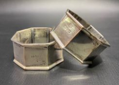 A George V pair of octagonal napkin rings, maker JD WD, Chester 1915, weight 1.95oz approximately,