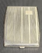935 white metal engine turned cigarette case, maker EGB and stamped 935, width 10cm, weight 126.5g