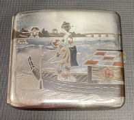 1920's Japanese white metal oxidised silver, copper & gold decorated cigarette case stamped K. Uyeda
