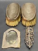 Pair of silver hallmarked planished hair brushes, Birmingham 1912; together with an Eastern white