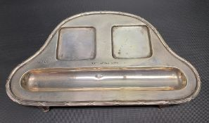 George V silver ink stand base by William Hutton & Sons Ltd, with engraved date 30th April 1938,