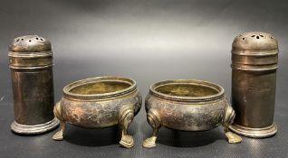 Pair of Victorian silver circular salts raised on triple feet, maker ECB, London 1870, weight 2.15oz