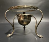 George III silver fluted three legged spirit stand, possibly for a brandy pan, with reeded rims