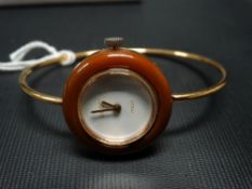 Modern Gucci ladies gold plated manual wind wristwatch, the white 13mm dial signed 'Gucci Italy'.