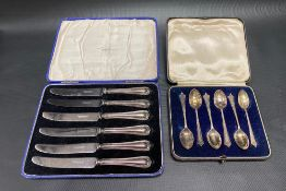 Cased set of six George V silver demi-tasse spoons, Sheffield 1933, weight 1.30oz approx; together