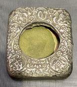 Edwardian silver embossed mounted pocket watch travel case, Birmingham 1910.