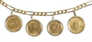 coin bracelet, yelow gold 750/000, various gold coins, 1 Vreneli 1913, 10 Mark, Deutsches Reich