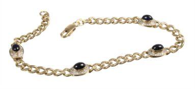 bracelet, yelow gold 585/000, 4 sapphire cabochon c. 3.2 ct, 24 pieces 8/8 diamonds (white set),
