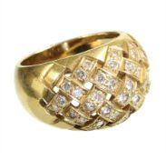 ring mesh, yelow gold 750/000, 38 brilliants c. 0.75 ct tw-vsi/si, ring width c. 53.5